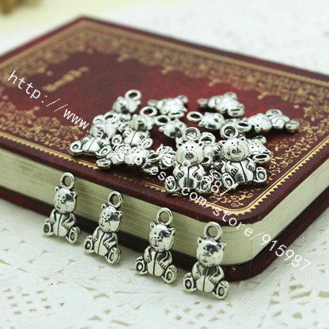 100 unids / lote plata antigua encantadora oso de peluche colgante encantos resultados de la joyería 10 * 16 mm Fit Vintage Metal joyería colgantes D0158