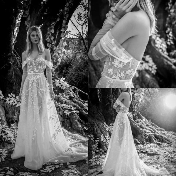 Inbal Dror 2019 Кантри Свадебные платья с открытыми плечами с длинным рукавом Кафтан Кружева Плюс Размер A Line Свадебные платья Beach robe de mariée