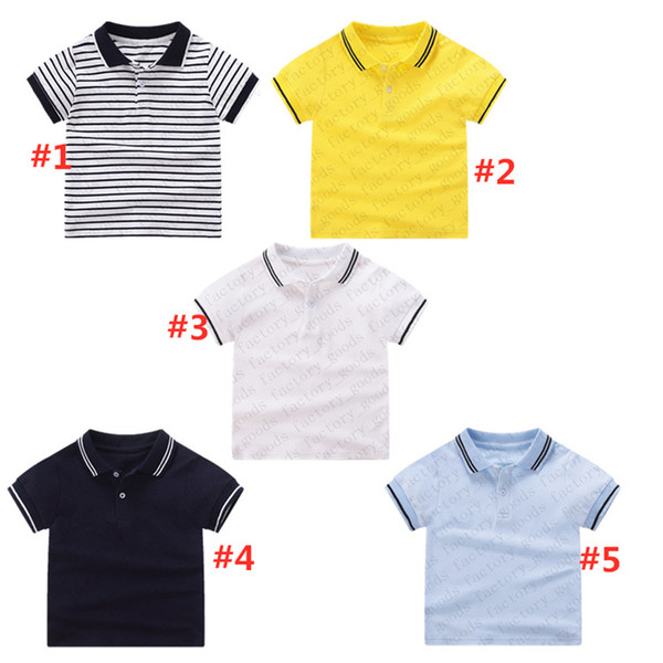 best selling Summer Clothes Striped Polos Shirt Kids T-shirt Short Sleeve Sports Top Casual Tees Fashion Boys Girls Tshirts Kids Solid Color Tees CZ311