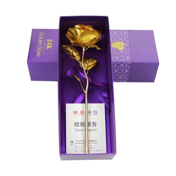 24K Foil Plated Rose Gold Rose Wedding Decoration Flower Valentine's Day Gift Lover Rose Artificial for Drop