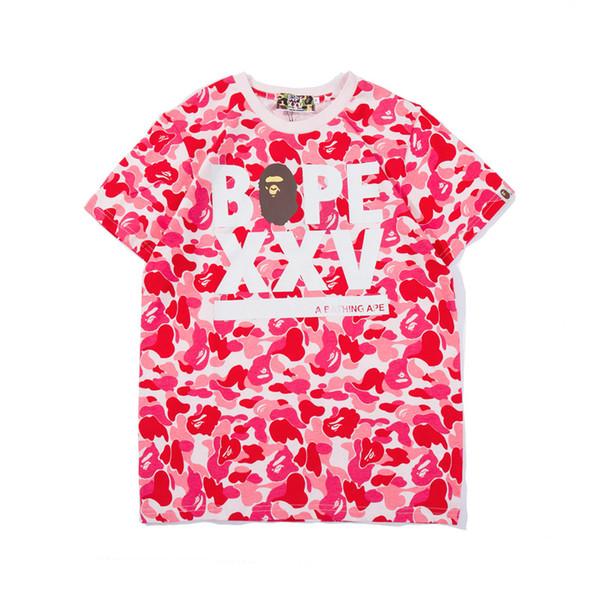 New Men's Loose Camo T-Shirts Teenager Hip Hop T-shirt Men's Letter Print Camo Cotton T-shirts Tops