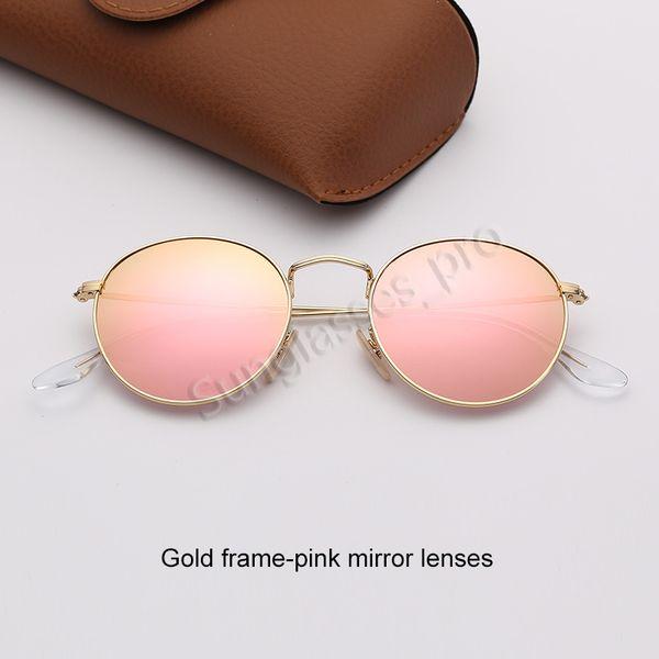 Золотая рамка-розовая зеркальные линзы