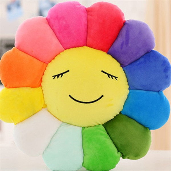 Sun Flower Plush Toys Sofa Cushion 7 Colors Velboa Home Hotel Fashion Decorative Pillow Creative Comfortable Smiling Face 18yh1D1