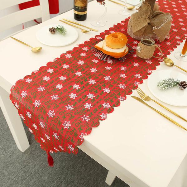 180 * 35cm kar tanesi Geyik Harf Keten Baskılı Masa Örtüsü Noel Süsler Masa bayrağı Placemat Yılbaşı Ev Dekorasyonu 62658