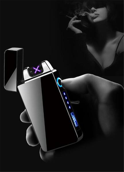 USB de alta calidad Nueva Doble arco eléctrico recargable encendedor a prueba de viento de plasma pulso sin llama de mechero de carga USB colorido encendedor