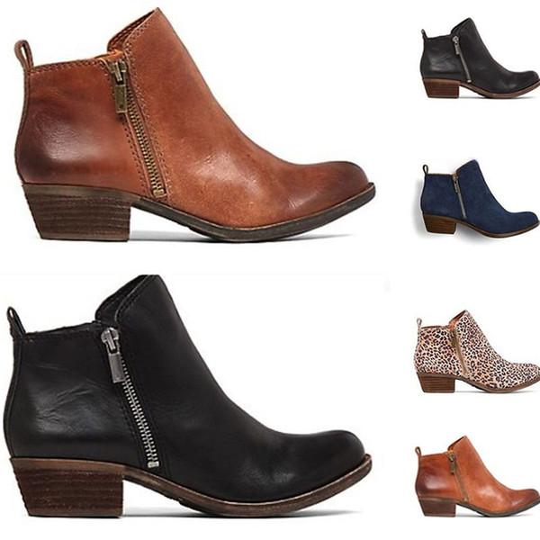 Yeni 2018 Sonbahar Kış Kadın Çizmeler PU Yan Fermuar Martin Çizmeler Vintage Moda Ayak Bileği Ayakkabı Kadın kadın
