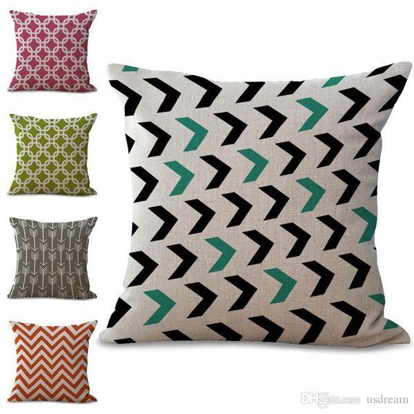 Geometric Pattern Diamond Stripes Arrow Wave Pillow Case Cushion Cover Linen Cotton Throw Pillowcases Sofa Car Decorative Pillowcover PW649