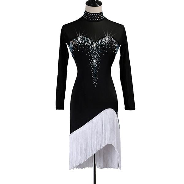 Robe de danse latine Femmes Filles Enfants CHERS Salsa Dance Wear Fringe Dress Samba Costumes Costumes avec Lyrical danse Glands KC001