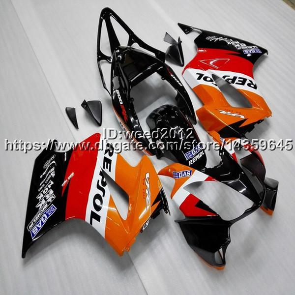 23colors+Gifts repsol orange motorcycle Fairing hull for HONDA VFR800 2002 2003 2004 2005 2006 2007 2008 2009 2010 2011 2012