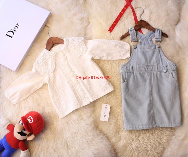 Girls shirts sets kids designer clothing washed denim strap skirt + solid color cotton shirt 2pcs autumn girl skirt sets