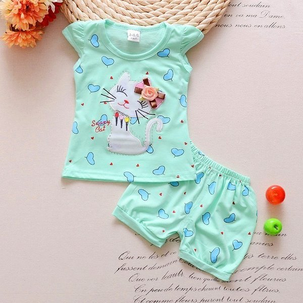 good quality summer girls clothing set 2pcs tracksuit children cotton suit kids cartoon outfits short sleeve baby girls clothes sets