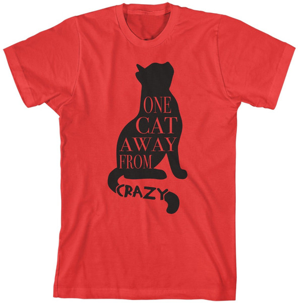 One Cat Away From Crazy T-Shirt Funny Pet Lover Gift Women fashin clothes t shirt tumblr graphic tees tops