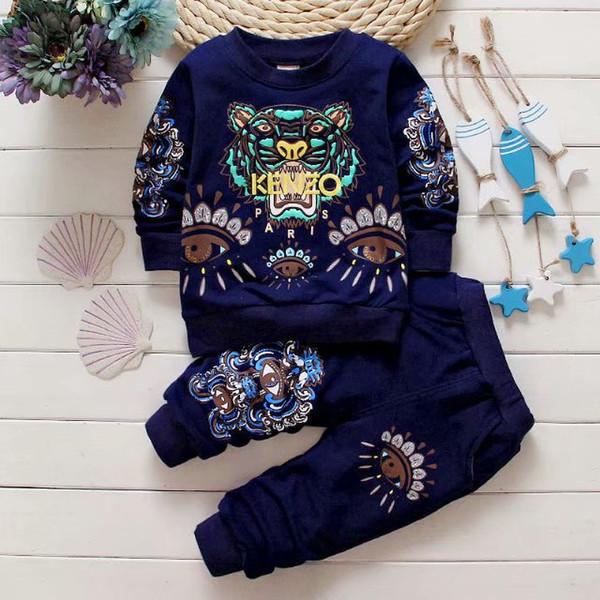 Bebê meninos meninas terno fatos de treino camisola crianças 1-4 anos conjunto de roupas Venda quente moda Primavera Outono vestidos de crianças camisola manga comprida