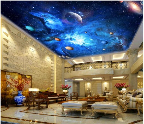 High Quality Custom Photo Wallpaper 3d Ceiling Murals Wall Papers Hd Beautiful Universe Space Galaxy Nebula Starry Sky Ceiling Zenith Mural Hd Images