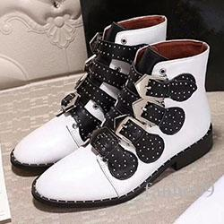 Rivet flat boots with thick retro single female Martin boots classic British short canister boots and female boot tide 100926