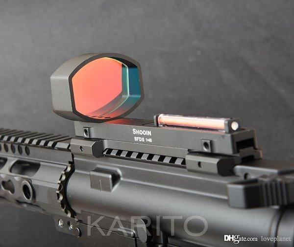 Shooin SFD II 1x lightweight red fiber optics red dot scope fit shotgun rib and rifle 20mm picatinny rail base mount M5167 R6416