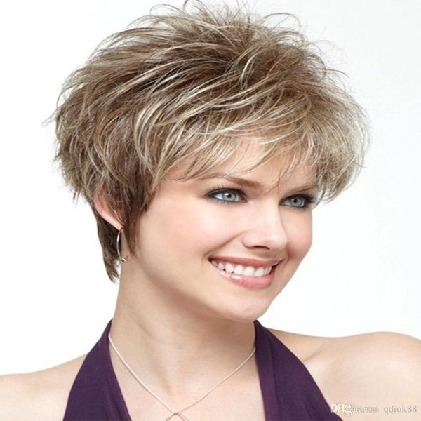 2019 Hot selling Euro-American female light blonde color High temperature wire short curly fluffy synthetic wig