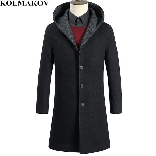 KOLMAKOV Men's Clothing 2019 New Mens Woolen Coats Black Long Spring Hooded Windbreakers Man Overcoats for Men Slim Fit Coat