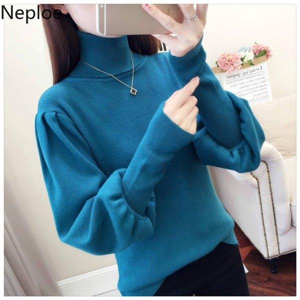 wholesale Winter Turtleneck Women Sweater Lantern Sleeve Pull Femme Plus Size Loose Slim Bottom Knitting Pullovers Feminino 55435
