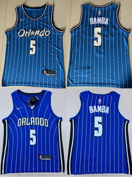 Мужчины Ретро Орландо Баскетбол Волшебная Джерси 5 # Мохамед Бамба Трикотажные изделия