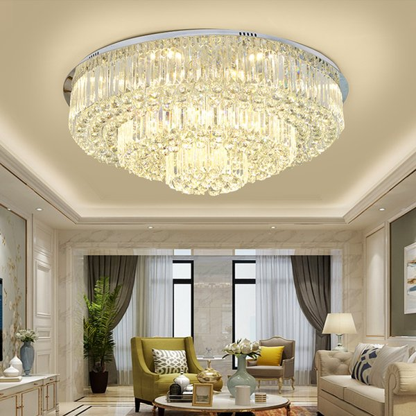 New modern round crystal ceiling chandelier lighting rectangle flush mount crystal chandelier led ceiling lights for bedroom living room