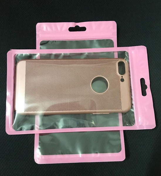 Universal 12*20cm Pink Clear Transparent Display Zipper Plastic Retail Package Bag For Iphone XS Max 8 Plus 6s 5s Case Cover