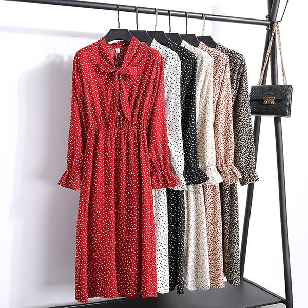 Sommer Chiffon Weibliche Kleid Lässig Süße Frauen Blumendruck Kleid Mädchen Bogen Lose Baumwolle Lange Kleider Volle Hülse Vestido S-XL