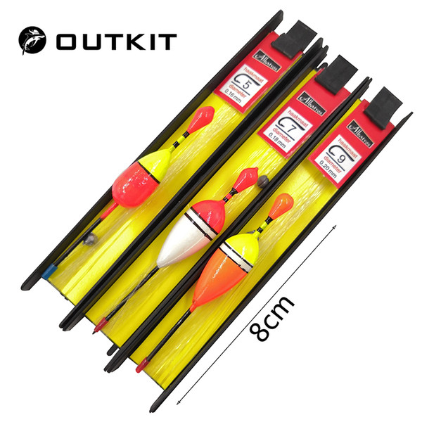 Float OUTKIT 3 Pcs Lot 8cm Vertical Buoy Float Set Wood Fishing Floats Pesca Fishing Tackle Tiple Suit Accessories