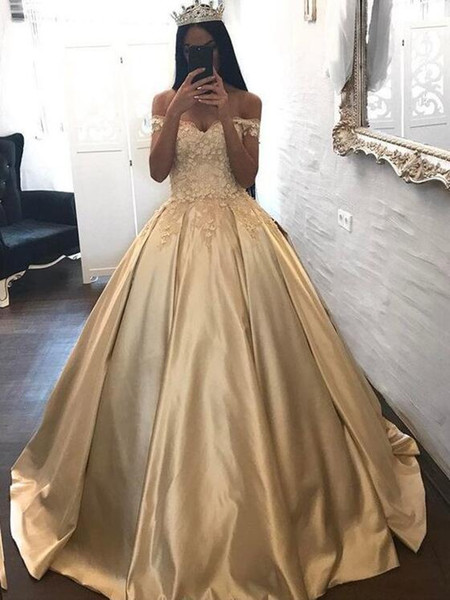 Abendkleider Gold Prom Dresses Long Off Shoulder 3D Flower Lace Ball Gown Evening Gowns Quinceanera Party Dress Celebrity Red Carpet Gown