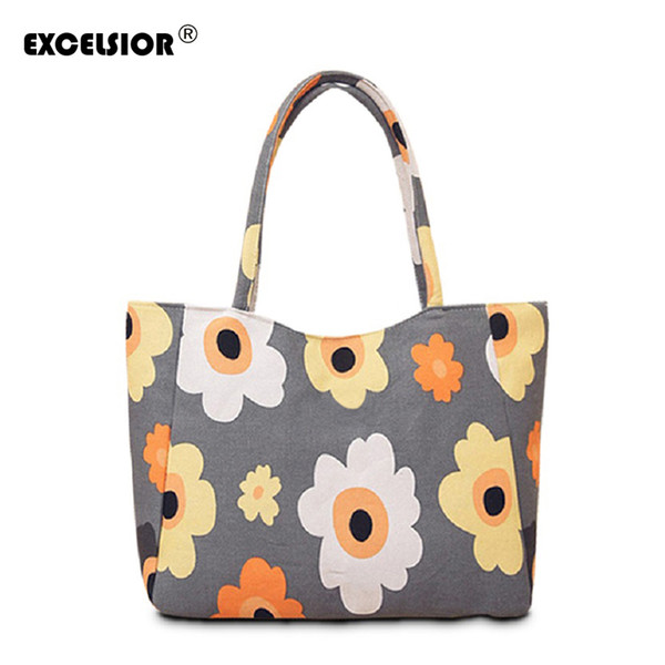 2019 Fashion EXCELSIOR Waterproof Canvas Casual Zipper Shopping Bag Large Tote Women Handbags Floral Printed Ladies Single Shoulder Beach