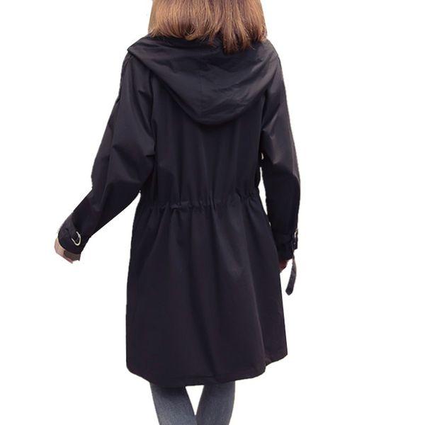 2019 Spring Autumn Women Fashion Trench Coat female Slim Hooded windbreaker coat Casual Long sleeve Women outerwear
