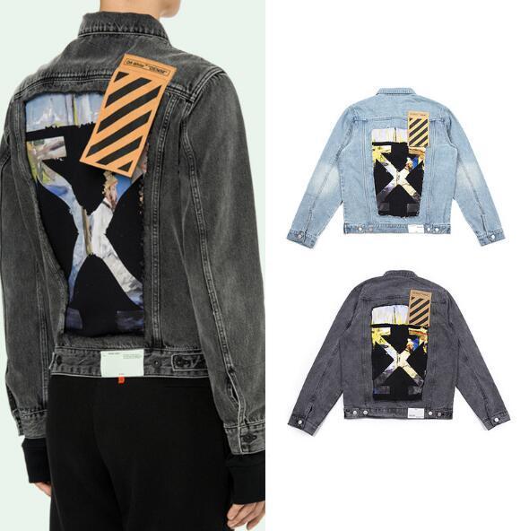 Moda YENI Ekleme Monet Yağlıboya Kot Ceket Arkasında KAPALI Mens kadının Ceket Denim Ceket Streetwear İlkbahar yaz M-XXL