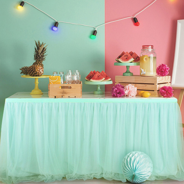 183 x 78cm Tutu Tulle Table Skirt Elastic Mesh Tulle Tableware Tablecloth for Party Wedding Birthday Home Decoration Mint Green