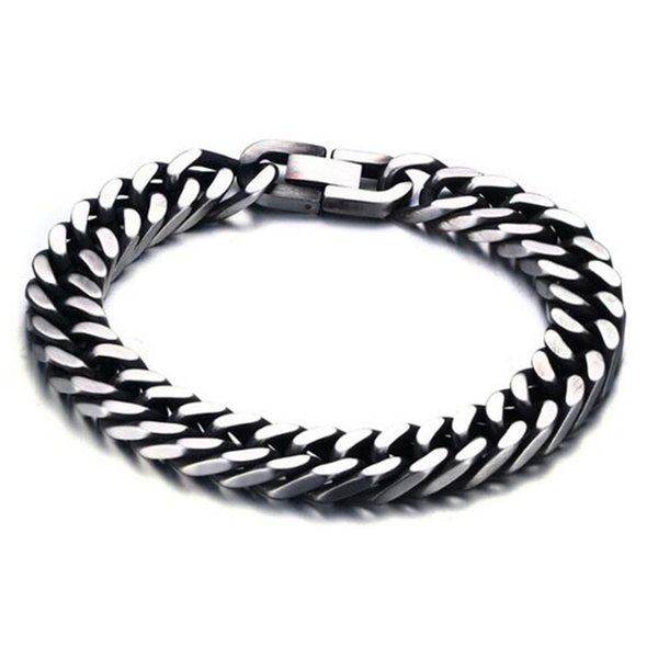 8MM/10MM Wide High Polished Mens Cuban Stainless Steel Curb Link Chain Bracelet