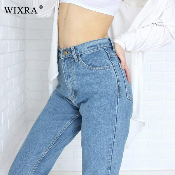 WIXRA Básico Denim Jeans Clássico 4 Temporada Mulheres de Cintura Alta Jeans Estilo Vintage Mãe Lápis Calças Jeans de Alta Qualidade Cowboy Denim Calças Q190424