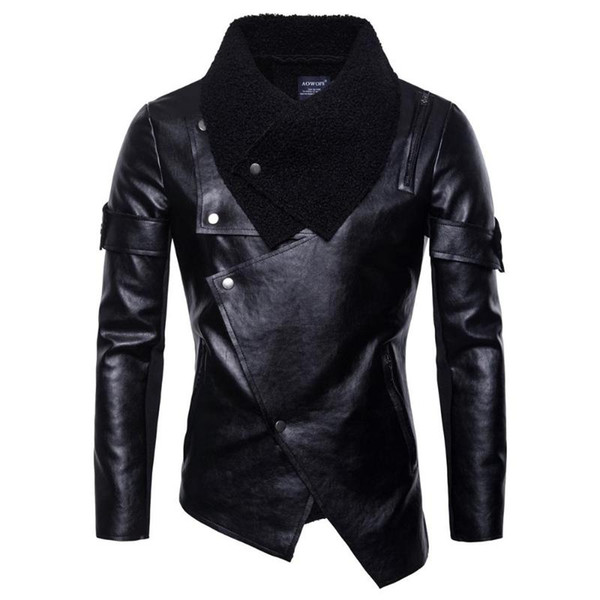 Mens Sahte Deri ceketler Erkekler Ceket Yüksek Kalite Klasik Motosiklet Bisiklet Kovboy ceketler Erkek Artı boyutu Kalın Coats M-5XL