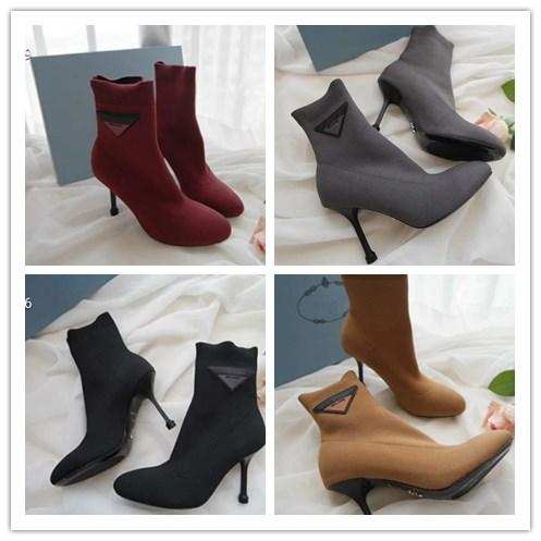 new arrival 2019 brand fashion luxury designer women high heels Boots Socks Stretch-Knit High Top Shoes Cheap Casual Ladies Boots,9cm heel