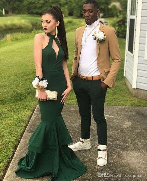 2019 Halter Sereia Verde escuro Vestido de baile com saia dupla camadas Longo vestido de festa vestidos de noite