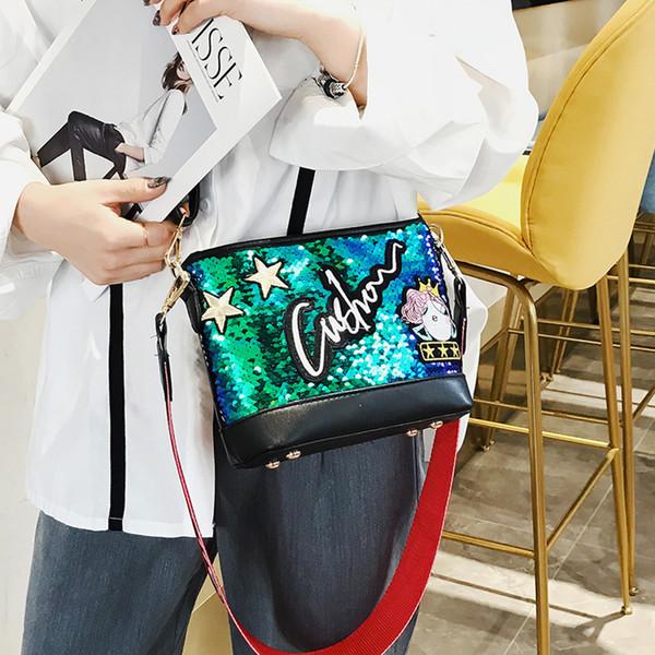 letter greenbolsas femininas bolsas de couro Women's Fashion leatherMulticolor Star Bag Square Package Chain Messenger Bag #15