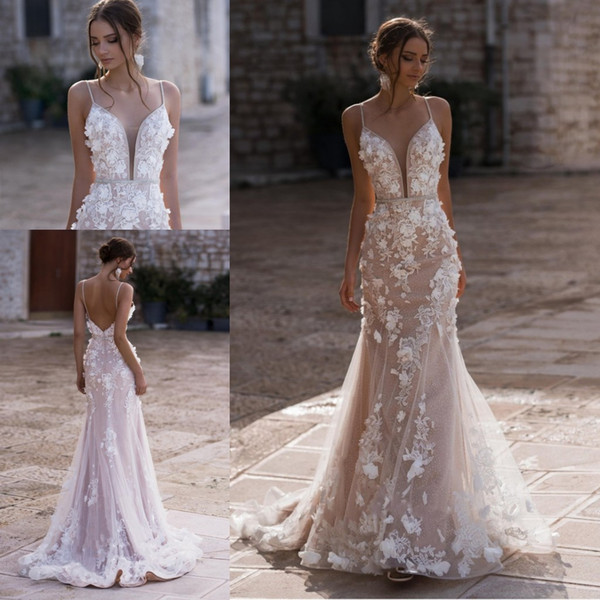 Mermaid Beach Wedding Dresses 2020 Modern Spaghetti Full Lace