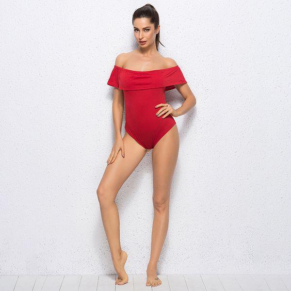 2019 Woman Jumpsuit Elegant Off shoulder Ruffled Ladies Sexy Jumpsuits Bodysuit One Piece For Women