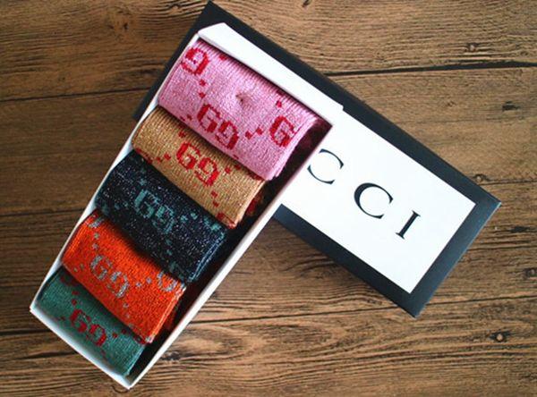 С коробкой унисекс дизайнер мужские женские носки мужчины письмо GG дышащий носок