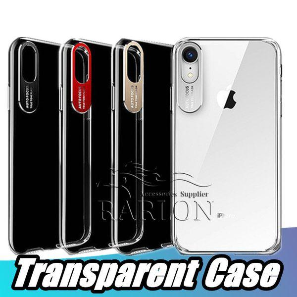Pour iPhone 11 Transparent Crystal Clear TPU couverture arrière de cas avec mise au point automatique Caméra métal Protecteur d'objectif pour l'iPhone XS Max XR X 8 plus