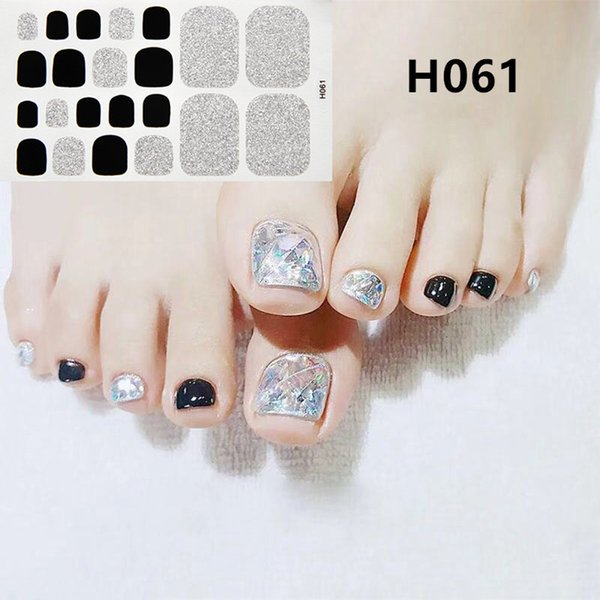 22 Tips / Sheet Toe Nail Sticker FAI DA TE Adesivi polacchi Glitter Plaid Tips Manicure Nail Art Wraps Nuovi disegni Copertura completa Toe Decor