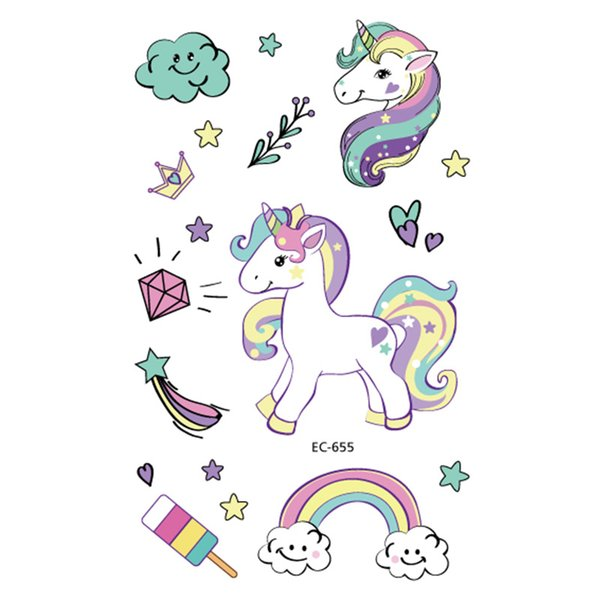1pc Unicorn Temporary Tattoo Sticker Cartoon Star moon Cloud Icecream Rainbow Horse Decals Women Girl Kid Body Hand Arm Art New