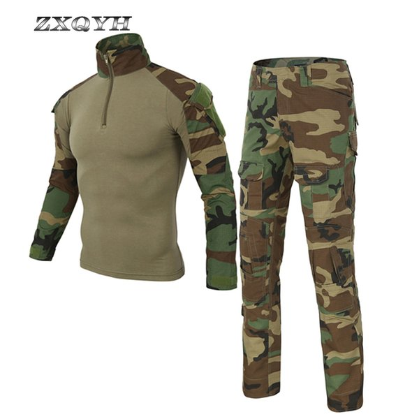 ZXQYH Outdoor Tactical Uniforms Army Combat Camouflage Clothing Men Hunting Suits T-Shirts Pants Hiking Sets Uniforms