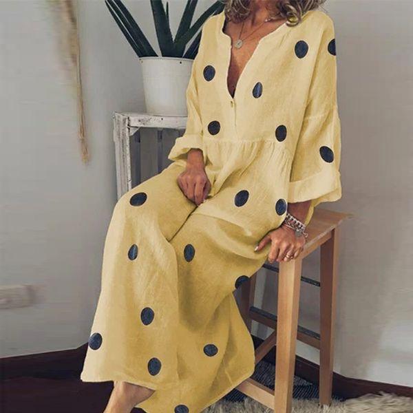 Vintage Women Yellow Linen Dress 2019 Plus Size Female Beach Sundress Ladies Casual Print Polka Dot Long Vestidos 5XL