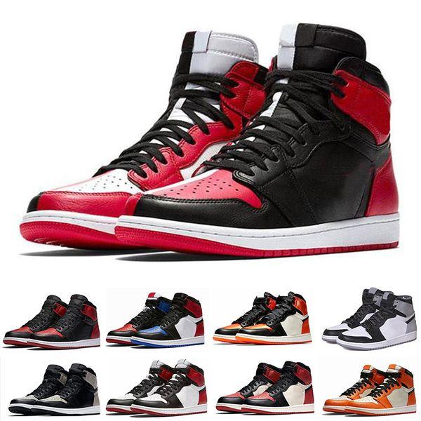 NIKE Air Jordan 1 Retro 1 tênis alta Travis Scotts Baixa Destemido Obsidian Mens Basketball Spiderman UNC TURBO VERDE Banido Toe Bred Homens Esporte Sneakers KC167