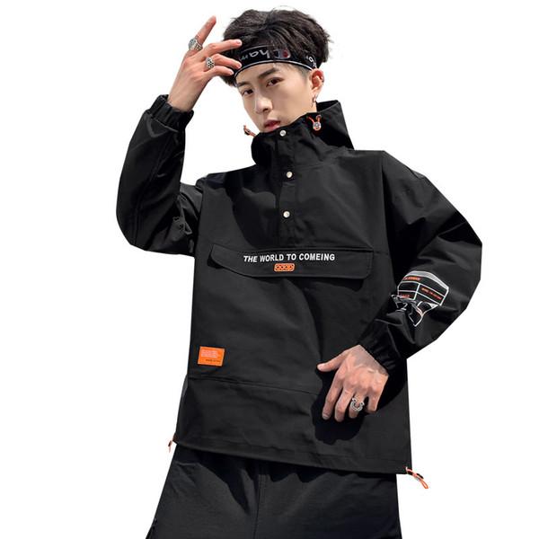 Herren Herbst Winter Half Zipper Hooded Workwear Jacken Mäntel maskuline japanische Streetwear Bomberjacke Hoodies Windjacke