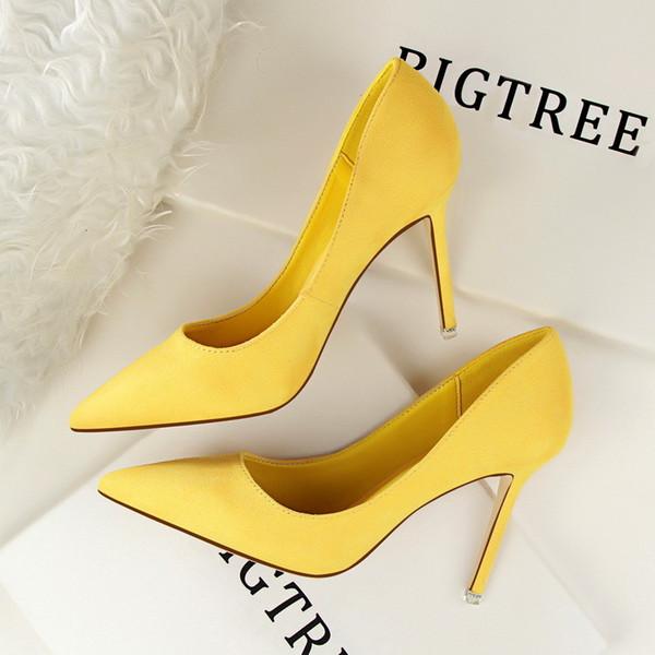 Designer Dress Shoes Women Pumps Flock Women Heels Slip-On Shallow High Heels Pointed Toe Wedding For Women Pumps High heeled 884